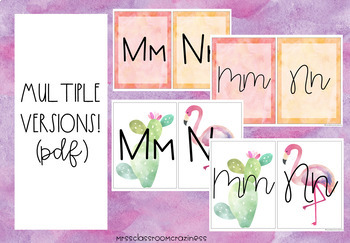 Pineapple-Flamingo-Tropical Alphabet with Cursive and Regular Letters!