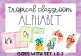 Pineapple-Flamingo-Tropical Alphabet with Cursive and Regu