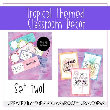 SET 2-Pineapple-Flamingo-Tropical Classroom Decor GROWING BUNDLE