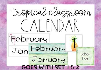 Pineapple-Flamingo-Tropical *FREE* Classroom Calender Decor