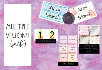 Pineapple-Flamingo-Tropical *FREE* Classroom Calendar Decor