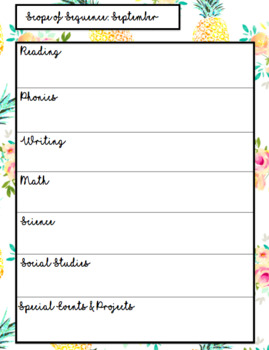 Pineapple Floral Teaching Planner