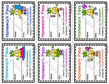 Pineapple Homework Pass - Incentive Reward Coupon - Pineapple Theme
