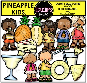 Pineapple Kids Clip Art Bundle {Educlips Clipart}
