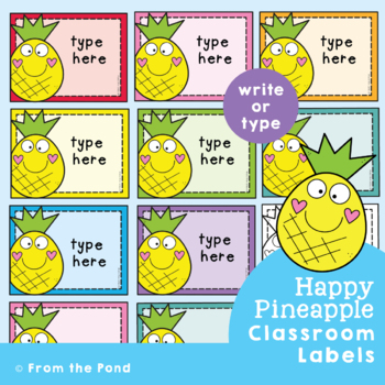 Editable Labels Pineapple Labels for the Classroom {Editable}