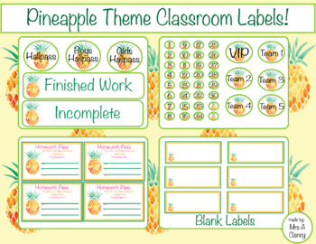 Pineapple Labels for your Pineapple Theme Classroom