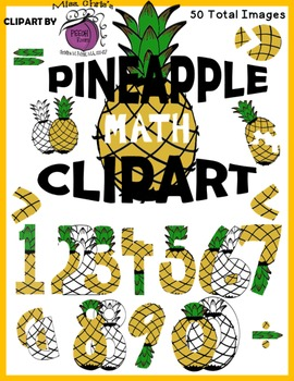 Pineapple Math Clip art - 50 images BW and Color