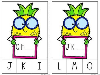 Pineapple Missing Letter Clip Cards
