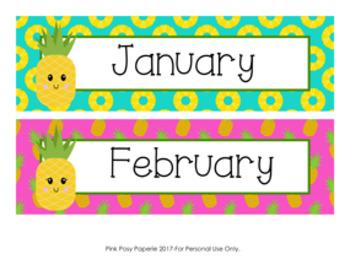 Pineapple Monthly Calendar Headers