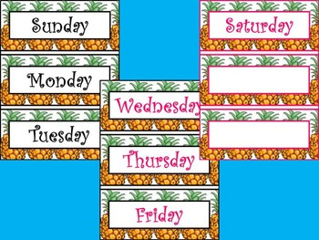 Pineapple Months of the Year and Days of the week.
