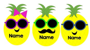 Pineapple Name Tag Editable