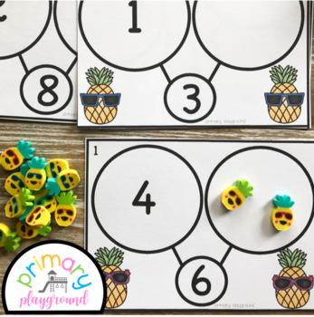 Pineapple Number Bond Task Cards 1-10