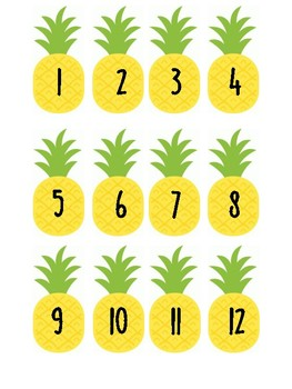 Pineapple Number Labels