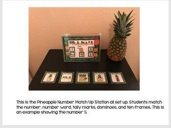 Pineapple Number Match Up Math Center