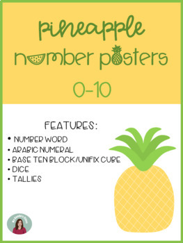 Pineapple Number Posters, 0-10: Includes 10 frames, base 10, & dice