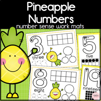 Pineapple Number Work Mats! Make & Trace Numbers center for Kindergarten Math