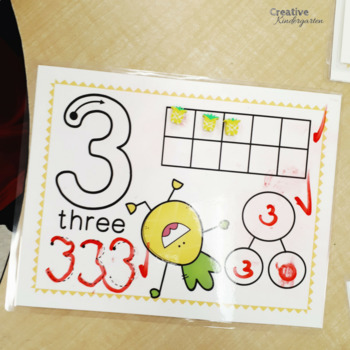 Pineapple Number Work Mats! Make & Trace Numbers center for Kindergarten Math