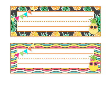 Pineapple Paradise Classroom Decor--Deskplates/Name Tags--Editable