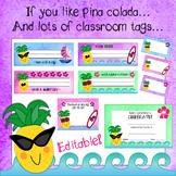 Pineapple Paradise Classroom Tag and Label Bundle - Editable!
