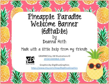Pineapple Paradise Welcome Banner {Editable}
