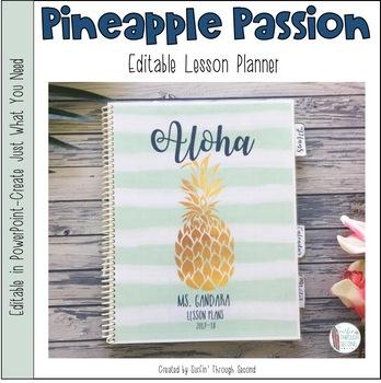 Pineapple Passion Editable Teacher Lesson Planner / Binder ...