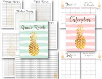 Pineapple Passion Editable Teacher Lesson Planner / Binder 2018-19