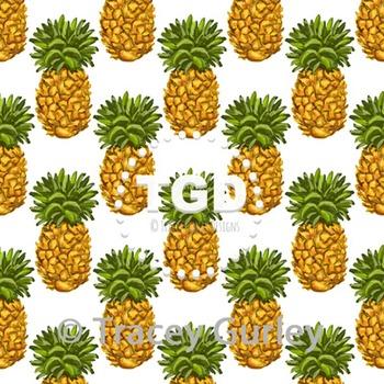 Pineapple Pattern Repeat on White digital paper Printable