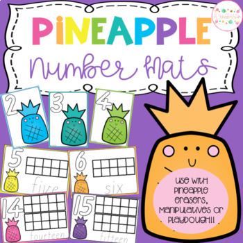 Pineapple Playdough Number Mats