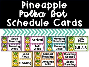 Pineapple Polka Dot Schedule Cards