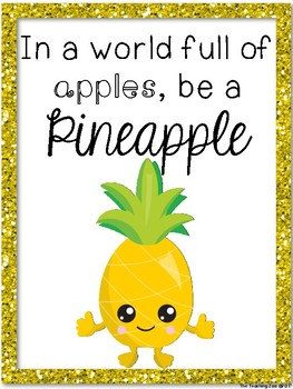 Pineapple Positive Quote Posters