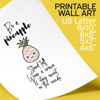 Pineapple Poster Printable, inspirational quotes, minimalist modern art