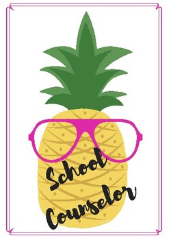 Pineapple School Counselor Door Sign