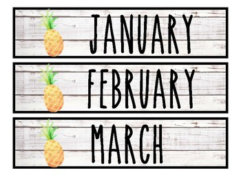 Pineapple & Shiplap Calendar Set