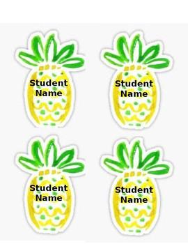 Pineapple Student Name Tags - editable
