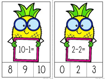 Pineapple Subtraction Clip Cards