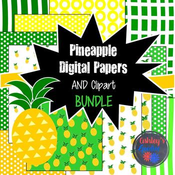 Pineapple Summer Digital Paper and Clipart Bundle
