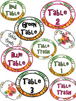 Pineapple Table Numbers, Colors, and Trash Labels