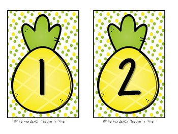 Pineapple Table Numbers for your Classroom Tables
