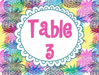 Pineapple Table Signs