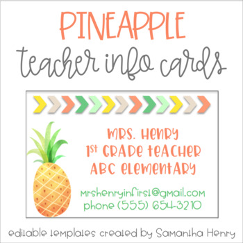 Pineapple Teacher Info Cards