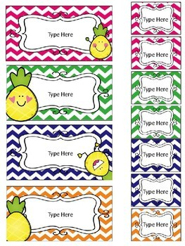 Pineapple Teacher Toolbox and Drawer Labels