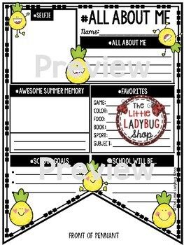 All About Me Pineapple Theme - Back to School Writing - First Week of School