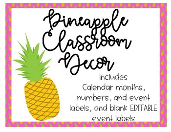 Pineapple Theme Calendar *Editable!*