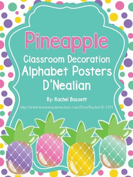 Pineapple Theme Classroom Alphabet Poster DNealian