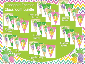 Pineapple Theme Classroom Banner Pack