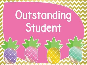 Pineapple Theme Classroom Behavior Chart