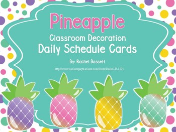 Pineapple Theme Classroom Daily Schedule Cards