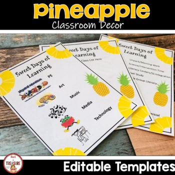 Pineapple Theme Classroom Decor - Class List and Schedule