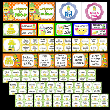 Pineapple Theme Classroom Decor EDITABLE (Pineapple Classroom Decor)