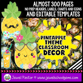 Pineapple Theme Classroom Decor EDITABLE
